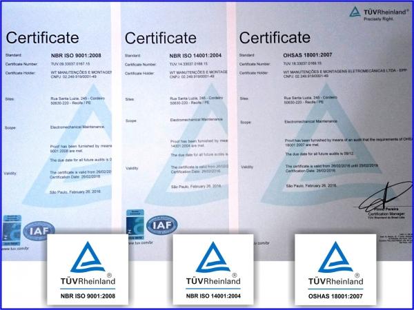 WT é certificada na 9001, 14001 e 18001